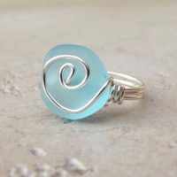 Ocean Blue Sea Glass Ring:  Silver Wire Wrapped Turquoise Blue Beach Jewelry, Size 5.5