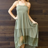 Olive Green Lace Trim Button Front Maxi Dress