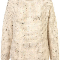 Knitted Speckle Slouch Jumper - Knitwear  - Clothing