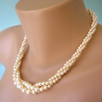Twisted Pearl Choker, Great Gatsby, Napier Jewelry, Pearl Necklace, Multistrand, Bridal Jewelry, Pearl Necklace, Art Deco, Cream Pearls