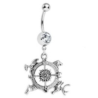 Crystal Gem Compass Belly Button Ring 14G
