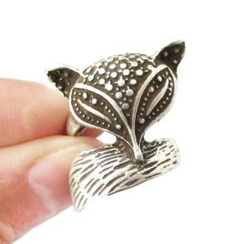 Abstract Fox Face Shaped Animal Wrap Around Ring in Silver | US Size 5 Only