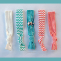 5 Elastic HAIR TIES Aqua and Coral Chevron with by CrownedPeacock