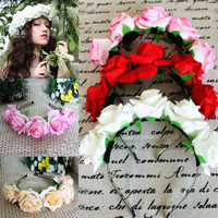 Rose Floral Flower Garland Crown Headband Hair Band Bridal Festival Holiday Headwear