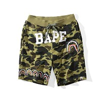BAPE new fashion camouflage shark men and women beach shorts F-A-KSFZ Green