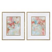 A Touch Of Blush And Rosewood Fences Art, Set of 2 by Uttermost