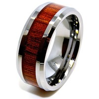 Unisex 8mm Wood Grain Inlay Tungsten Wedding Band (US Sizes 4-16)