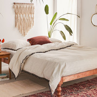Washed Cotton Striped Tassel Duvet Cover   Urban Outfitters
