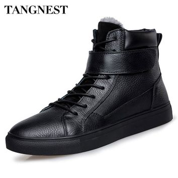 Tangnest Men Boots Unisex Ankle Boots Man With Fur PU Leather High Top