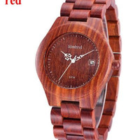 Exotic Wooden Quartz Watch!  Two Color Wood Strap - Environmentally Friendly All Natural Exotic Wood!