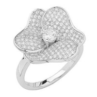 .925 Sterling Silver Rhodium Plated Micro Pave Ring