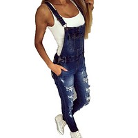 Women's casual sports shoulder strap hole denim jumpsuit