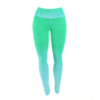 "Monika Strigel ""Blue Hawaiian"" Aqua Green Yoga Leggings"