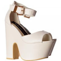 Onlineshoe Peep Toe Demi Wedge Party High Heels - Buckled Ankle Strap - Black Suede, Fuchsia Suede, White PU - Onlineshoe from Onlineshoe UK