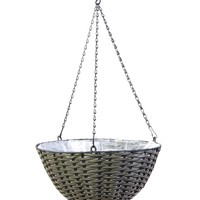 "Woven Hanging Basket Planter in Grey - 14"" Wide"