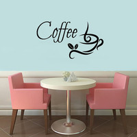 Wall Decals Vinyl Decal Sticker Coffee Time Coffee Cup Coffee Beans Home Interior Design Art Murals Kitchen Cafe Living Room Decor KT129