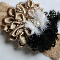 BOUTIQUE HEADBAND, kanzashi, toddler, baby girl, black, taupe, gold, white lace, gatsby womens hairclip, new years, photo prop, persnickety