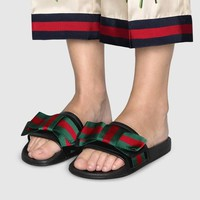GUCCI Satin slide with Web bow