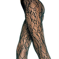 Black Flower Lace Gothic Tights