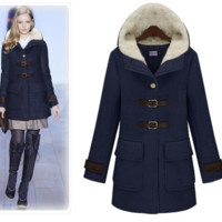 Hooded Buckled Front Thick Fur Coat
