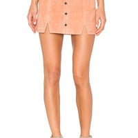 Obey Soho Suede Skirt in Dusty Coral