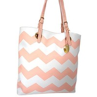 Fun! Spring Summer Chevron Tote Bag Purse (Pink)