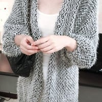 Gray Collarless Knitted Cardigan