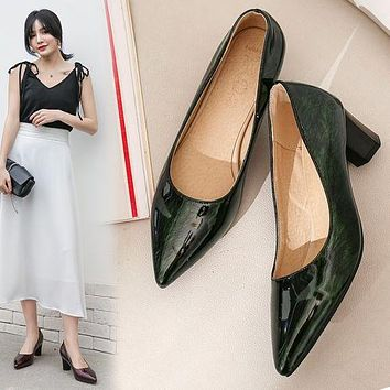 Women Pointed Toe Patent Leather High Heel Chunky Pumps