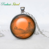 GEEKERY SCIENCE NECKLACE   Planet Mars pendant Galaxy necklace universe pendant for men