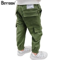 Beytoon Kids Boys Pants Casual Toddler Pants Boys Trousers 2017 New Army Green Patch Pocket Teen Cargo Pants Size 3 6 8 Year