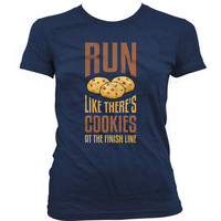Funny Running Shirt Run Like There's Cookies At The Finish Line Runner Tops Fitness Clothing Marathon Running Gym Tops Ladies Tee WT-45