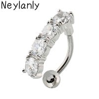 Fashion Top Down Piercing Navel Accessories Pircing Ombligo Crystal Stainless Steel Belly Button Ring Body Piercing Jewelry
