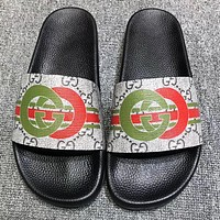 GUCCI New fashion stripe more letter print flip flop slippers shoes