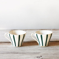 Two vintage coffee cups, Green white teacups, Thirties French kitchenware