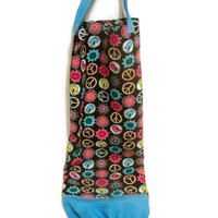 Brown and Turquoise Birds with Peace Signs and Flowers Fabric Plastic Bag Holder Large Size