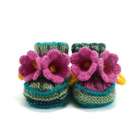 Hand Knitted Baby Booties with Crochet Bell Flowers - Green and Pink,  0 - 3 months