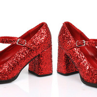 "3"" Heel Mary Jane Glitter Shoes."