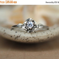 ON SALE Delicate Rose Engagement Ring with White Sapphire in Sterling - Silver Unique Rose Diamond Alternative Promise Ring, Commitment Ring