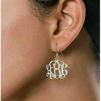 Sterling Silver Monogrammed Earrings- Great for bridal parties or gifts
