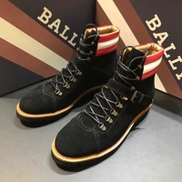 BALLY Men's Leather Fashion High Top Sneakers Shoes