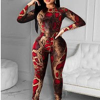 fhotwinter19 new women's fashion slim fit snake print long-sleeved trousers two-piece suit