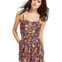 Material Girl Juniors Shorts, Spaghetti-Strap Printed Bustier Romper - Juniors Jumpsuits & Rompers - Macy's