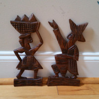 Vintage Carved Wood Man Woman Pair Wall Hanging Folk Art