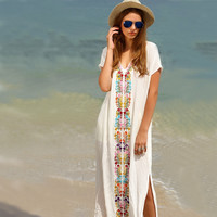 New Cotton Embroidered Long Cover Ups  Beach Resort is prevented bask in clothes Bikini smock dress