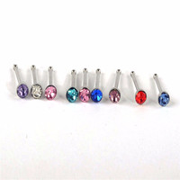 Crystal Stud Silver Colorful Nose Ring Nose Stud Stainless Surgical Steel Nose Piercing Fashion Body Jewelry 24pcs