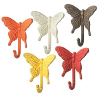 Colorful Butterfly Cast Iron Wall Hook Set 5 Pieces for Coats, Aprons, Hats, Towels, Pot Holders, More