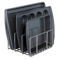 Seville Kitchen Cabinet and Counter Top Cutting Board Organizer - Silver