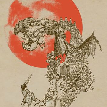 Junkyard Dragon (monochrome version) Art Print by Eric Fan | Society6