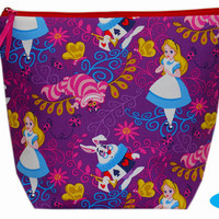 NEW Large Project Bag | Wedge Zipper Bag | Zippered Pouch | Knitting Bag | Alice in Wonderland