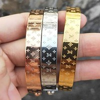 LV Louis Vuitton Fashion Women Men Classic High End Lovers Stainless Steel Bracelet I-4